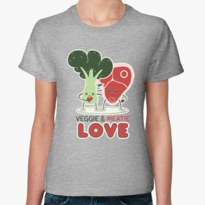 Женская футболка Овощно-мясная любовь