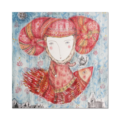 Наклейка (стикер) Принцесса летит на чаепитие