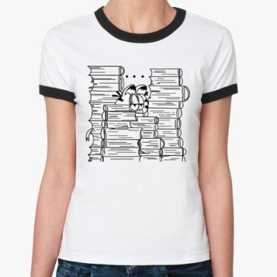 Женская футболка Ringer-T Гарфилд в книгах