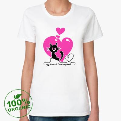 Женская футболка из органик-хлопка МОЁ СЕРДЦЕ ЗАНЯТО