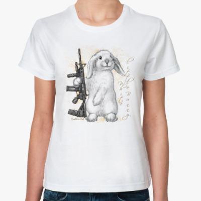 Классическая футболка Маленький белый зайчик