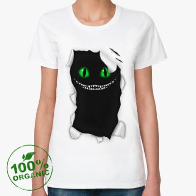 Женская футболка из органик-хлопка  'Чеширский кот'
