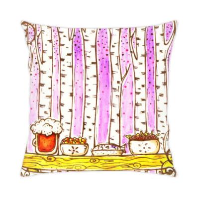 Подушка Березы на фиолетовом