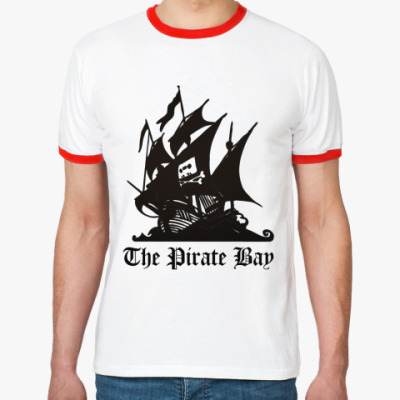 Футболка Ringer-T  пират the pirate bay
