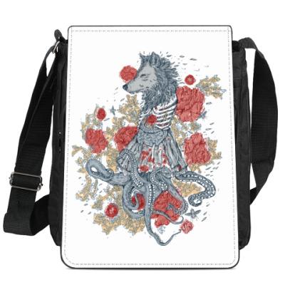 Сумка-планшет Волк-девушка-осьминог
