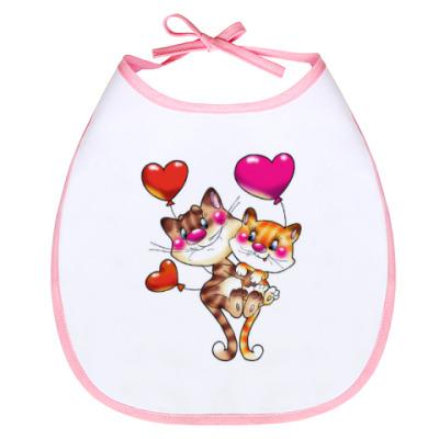 Слюнявчик Влюбленные кошечки