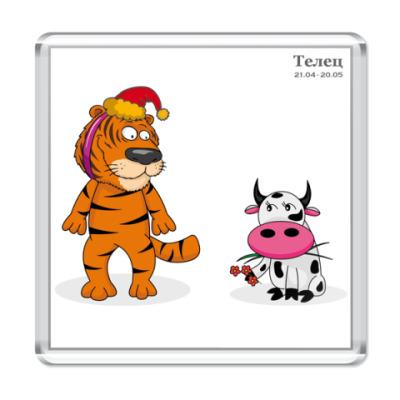 Магнит Новогодний тигр и Телец