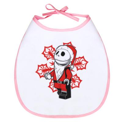 Слюнявчик Санта скелет