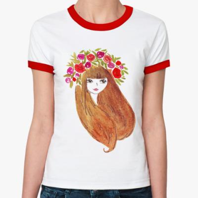 Женская футболка Ringer-T Цветочная, счастливая