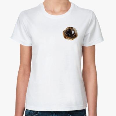 Классическая футболка  Брошь-Кот