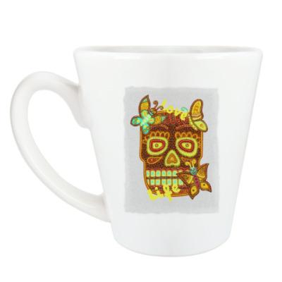 Чашка Латте бабочки-черепушки