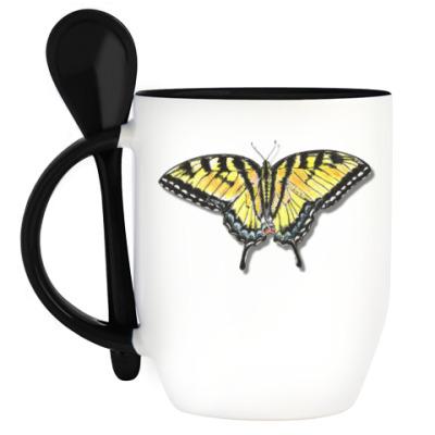 Кружка с ложкой Бабочка