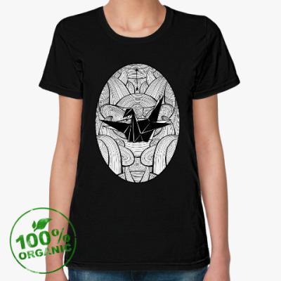 Женская футболка из органик-хлопка Журавлик
