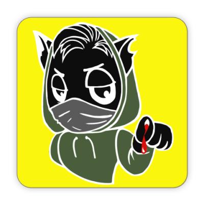 Костер (подставка под кружку) Черный кот ассасин