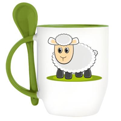 Кружка с ложкой Sheep
