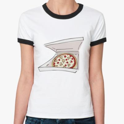 Женская футболка Ringer-T Доставка пиццы