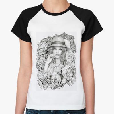 Женская футболка реглан Old School Girl