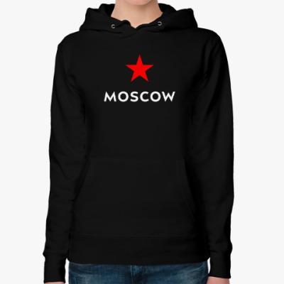 Женская толстовка худи логотип Москвы