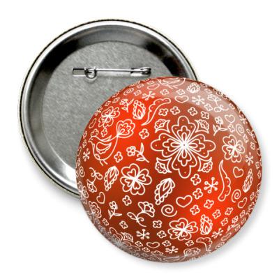 Значок 75мм Елочный шар