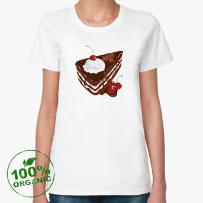 Женская футболка из органик-хлопка Торт Черный лес