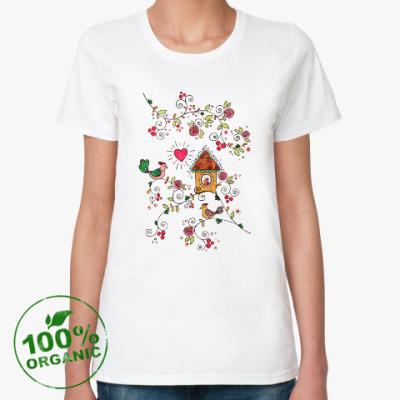 Женская футболка из органик-хлопка Птички, сердечко и домик