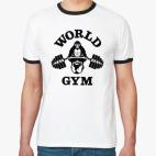 Футболка Ringer-T  World gym