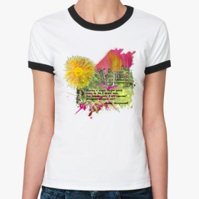 Женская футболка Ringer-T Солнце. Зелень. Березы. Трава. Поляна. Лес.