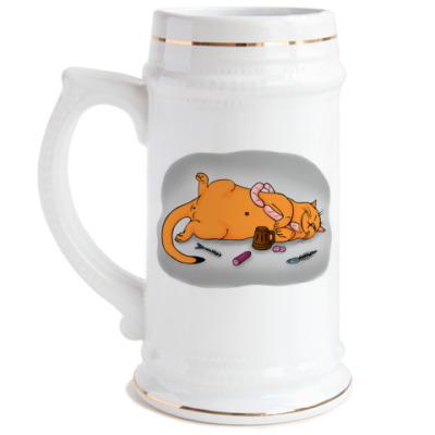 Пивная кружка Сытый кот