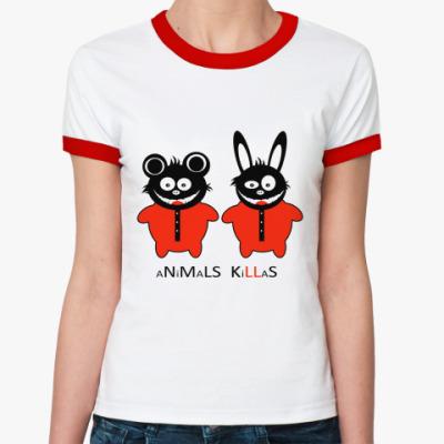 Женская футболка Ringer-T Animals Killas