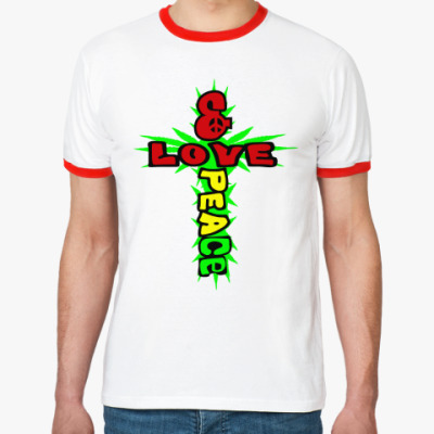 Футболка Ringer-T love & peace