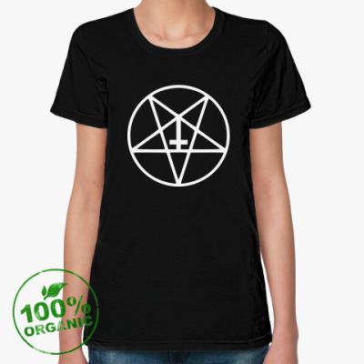 Женская футболка из органик-хлопка Перевернутый Крест в Пентаграмме