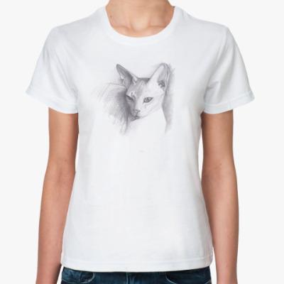 Классическая футболка рисунок кошки