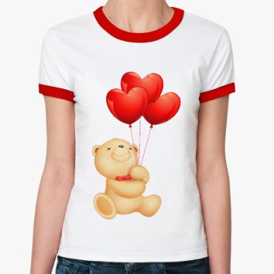 Женская футболка Ringer-T Мишка Тедди