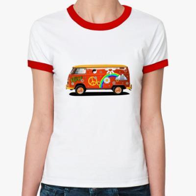 Женская футболка Ringer-T   Хиппи