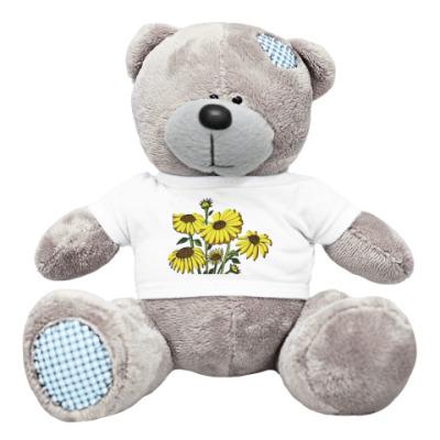 Плюшевый мишка Тедди цветы подсолнуха