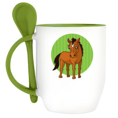 Кружка с ложкой стилизованная лошадь в круге