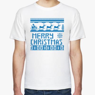 Футболка рождественский орнамент с оленями и надпись