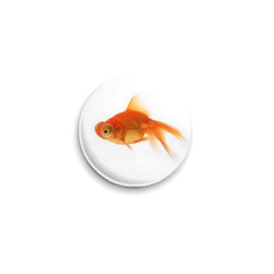 Значок 25мм золотая рыбка