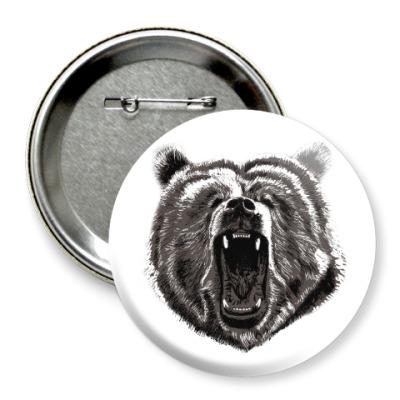 Значок 75мм Медведь