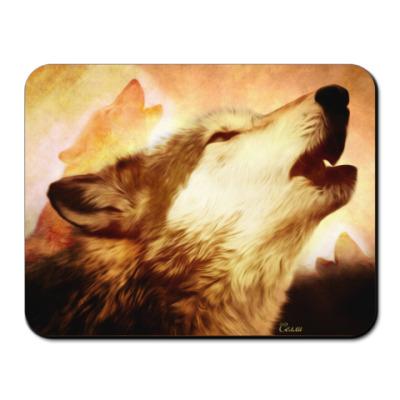 Коврик для мыши Воющий волк
