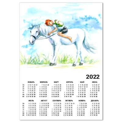 Календарь мальчик едет верхом на лошади