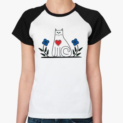 Женская футболка реглан Кот и сердце