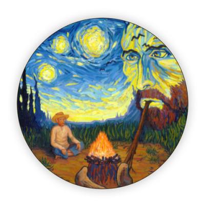 Костер (подставка под кружку) Ван Гог курит ночь