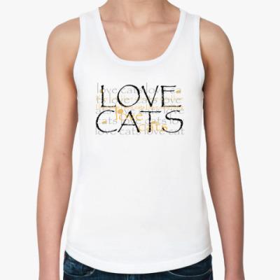 Женская майка Люблю кошек