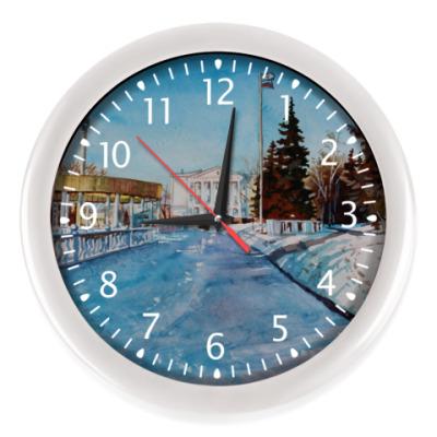 Настенные часы зимний пейзаж акварель Саранск