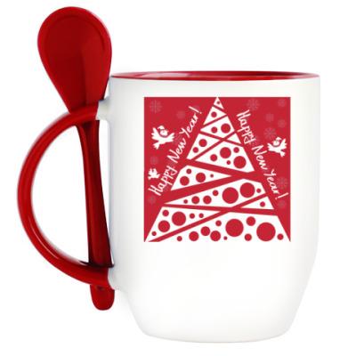 Кружка с ложкой новогодняя иллюстрация с елкой