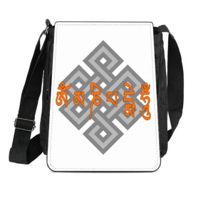 Сумка-планшет Ом мани падмэ  хум мантра и буддийский узел