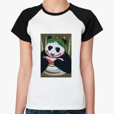 Женская футболка реглан Панда Joker