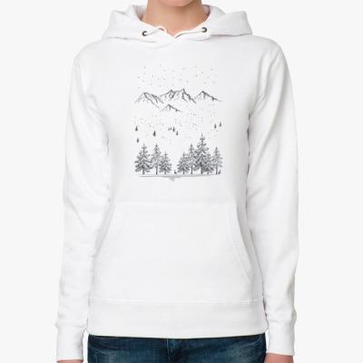 Женская толстовка худи Снежные горы