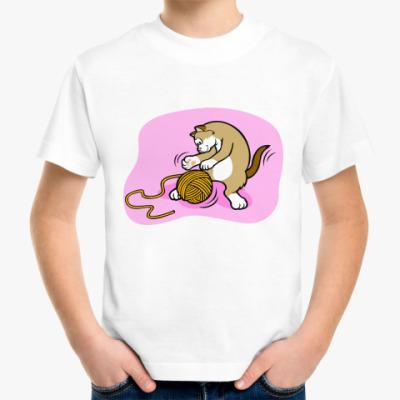 Детская футболка Кот с клубочком
